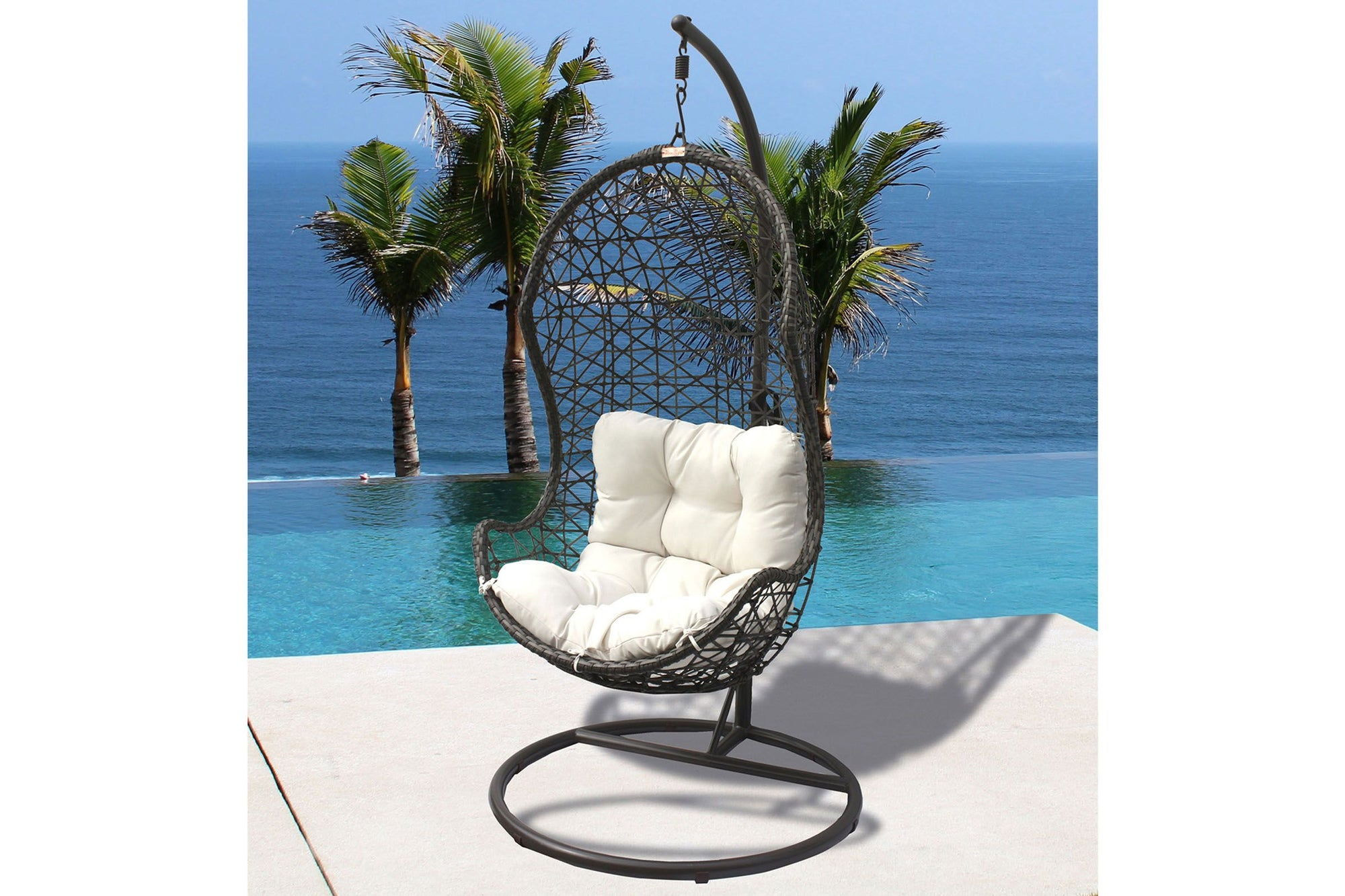 Panama Jack Hanging Chair w/metal stand & off-white cushion