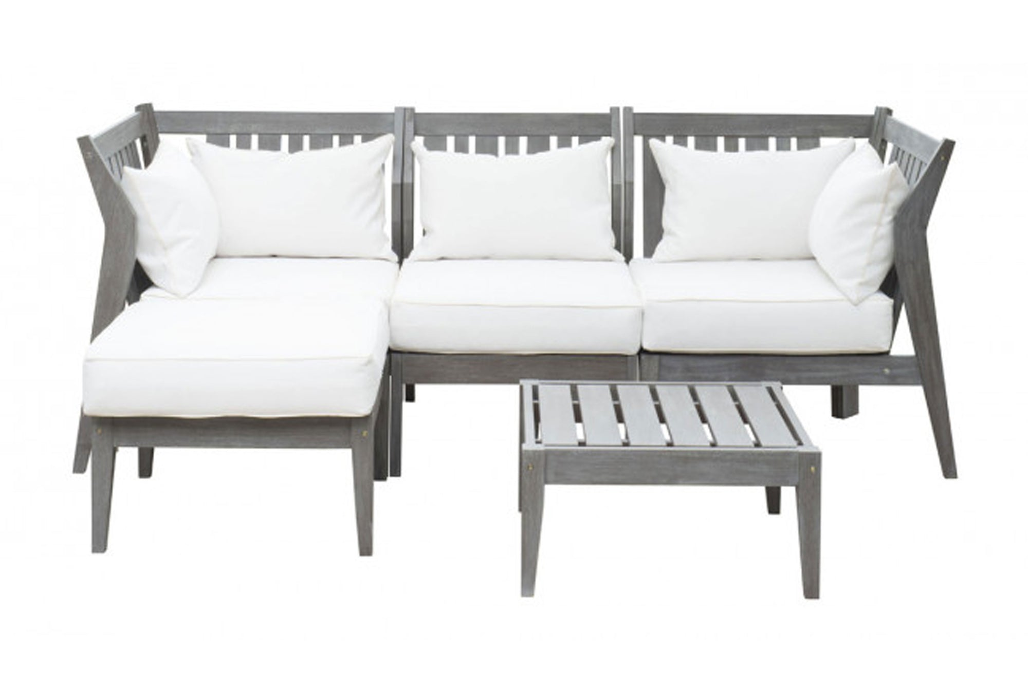 Poolside 5 PC Sectional Set w/off-white cushions