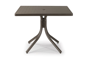 Square Aluminum Slat Top Dining Height Table
