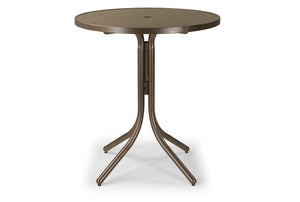 Round Aluminum Slat Top Bar Height Table
