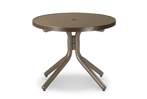 Round Aluminum Slat Top Chat Height Table