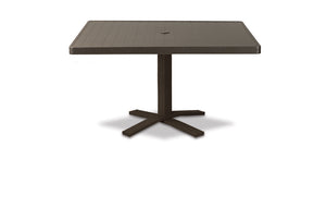 Square Aluminum Slat Top Chat Height Table