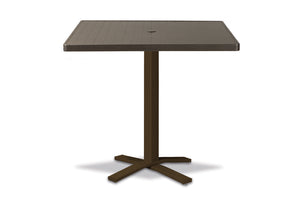 Square Aluminum Slat Top Bar Height Table