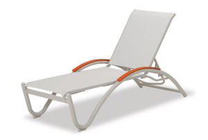 Helios Contract Sling Four-Position Lay-flat Stacking Chaise
