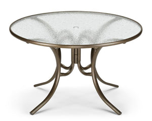 "Glass Top Table 48"" Round Dining Table w/ hole"