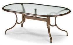 "Glass Top Table 43"" x 75"" Oval Dining Table w/ hole Ogee Rim"