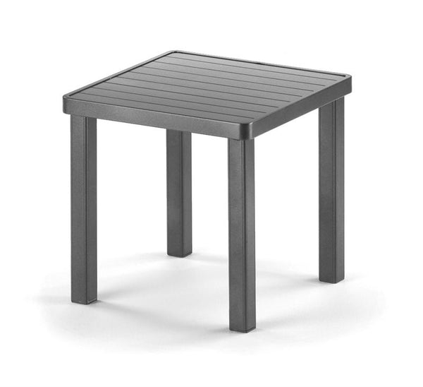 Aluminum Slat Top Table, 18 Square End Table