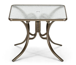 "Glass Top Table 36"" Square Dining Table w/ hole"