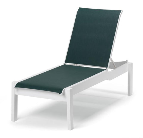 Leeward MGP Sling Stacking Armless Long Frame Chaise w/ Wheels