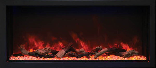 Amantii BI-50-DEEP-XT – 50″ Wide – Deep Indoor or Outdoor Built-in only Electric Fireplace with Black Steel Surround