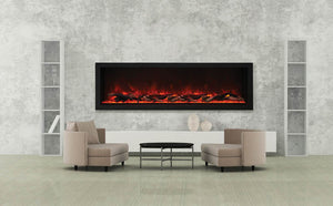 Amantii BI-72-DEEP-XT – 72″ Wide – Deep Indoor or Outdoor Built-in only Electric Fireplace with Black Steel Surround