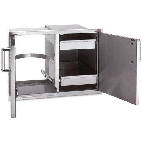 FireMagic Echelon Double Access Door With Dual Drawer And Trash Tray