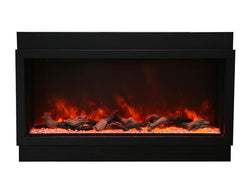 Amantii BI-40-DEEP-XT – 40″ Wide – Deep Indoor or Outdoor  Built-in only Electric Fireplace with Black Steel Surround