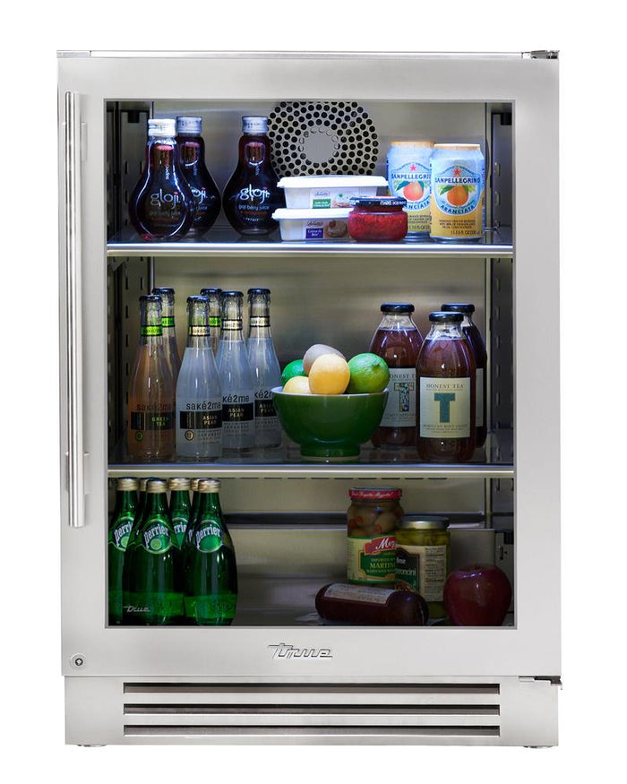 "True Undercounter Refrigerator- 24"" Stainless Glass Door"