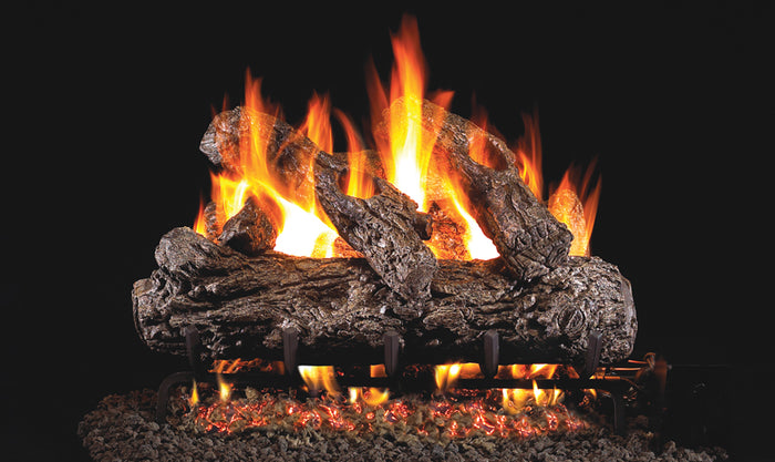 Rustic Oak Vented Gas Logs