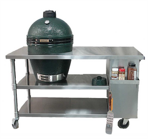 Large Big Green Egg with Long Stainless Steel Table Bundle