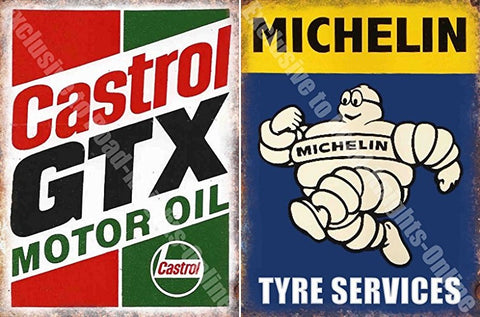 RKO_Metal_Wall_Signs_&_Magnets_Castrol_GTX_Michelin_Tyres