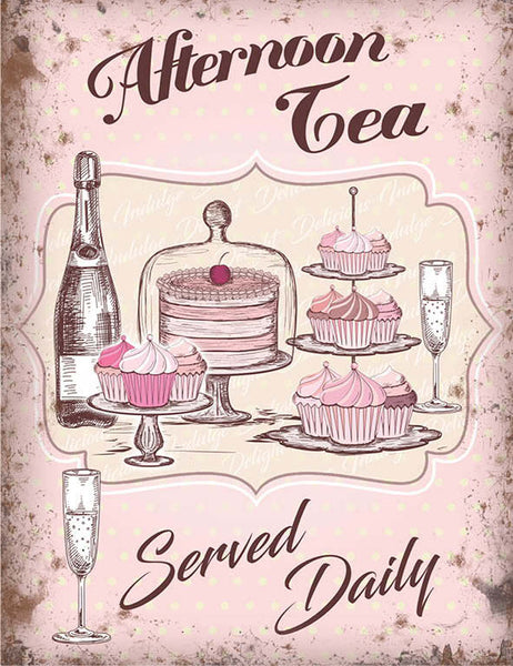 Afternoon High Tea Champagne Cake Cafe Shabby Chic Metal/Steel Wall Sign