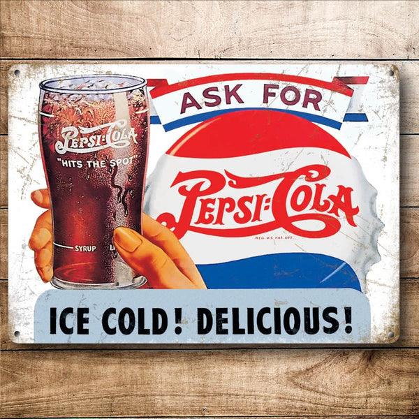 Ask For Pepsi Cola, Retro Soft Drink Advertising, Small Metal/Steel Wall Sign