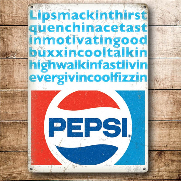 Pepsi Cola Lipsmacking, Coke Retro Diner Drink, Small Metal/Steel Wall Sign