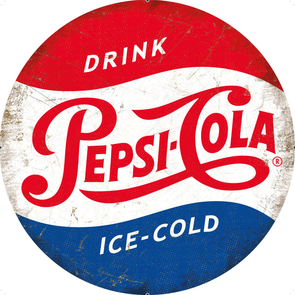 Pepsi-Cola Classic Logo Soft Drink Round Metal/Steel Wall Sign