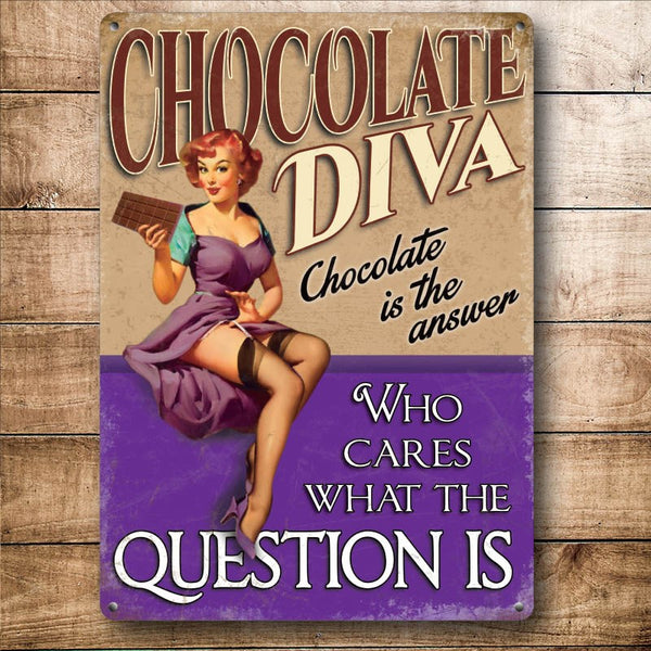 Chocolate Diva, Funny Pin-up Girl Loves Chocolate Small Metal/Steel Wall Sign