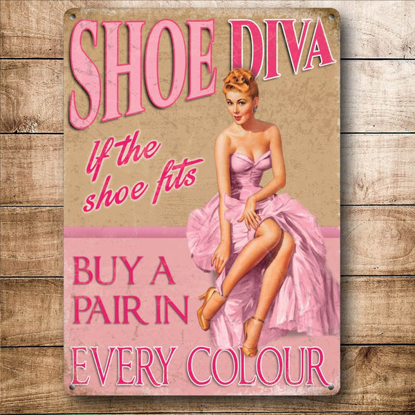 Shoe Diva, Funny Pin-up Girl Loves Shoes, Gift Small Metal/Steel Wall Sign