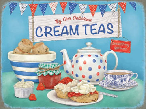 Homemade Cream Teas Food Drink Cafe Tearooms Retro Kitchen Metal/Steel Wall Sign