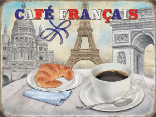 Café Français Coffee Food & Drink Cafe Shop Metal/Steel Wall Sign