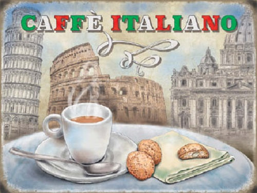 Caffé Italiano Coffee Food & Drink Cafe Shop Metal/Steel Wall Sign