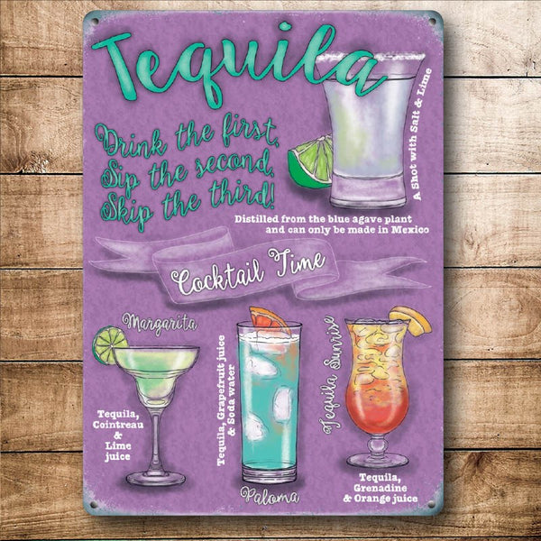 Tequila Cocktail Time, Drink Recipes Gift for Party Small Metal/Steel Wall Sign