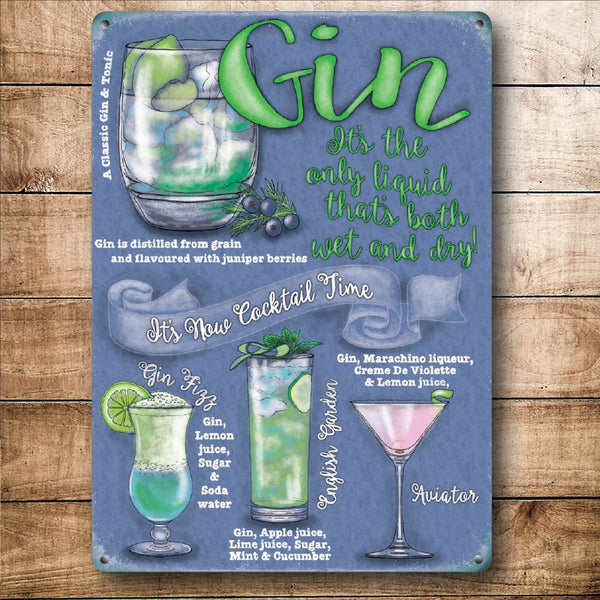 Gin Cocktail Time, Drink Recipes Party Cocktails, Small Metal/Steel Wall Sign
