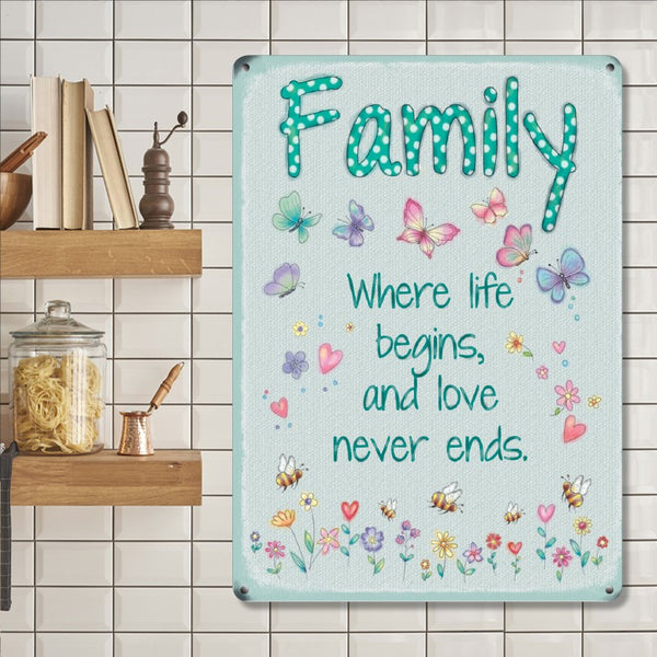 Family, Where Life Begins, House Shabby Chic Decor Small Metal/Steel Wall Sign
