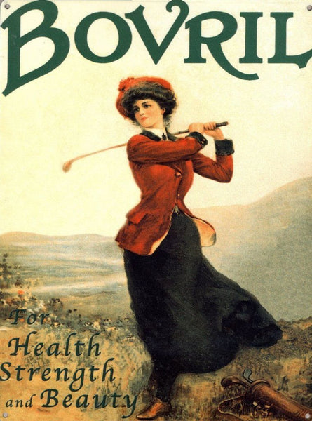 bovril-female-golfer-golf-club-sport-cafe-food-kitchen-old-vintage-victorian-advert-metal-steel-wall-sign