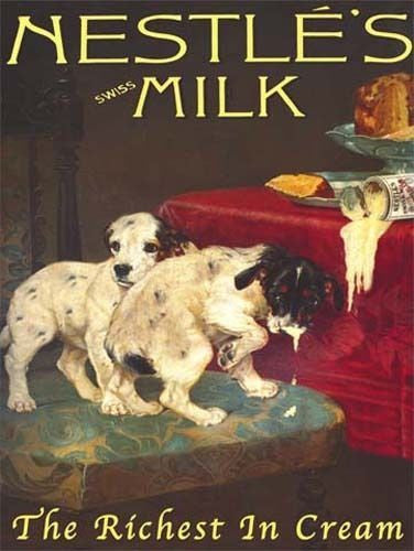 nestle-s-milk-cream-can-vintage-food-two-puppy-dogs-swiss-milk-the-richest-in-cream-old-shop-advert-metal-steel-wall-sign