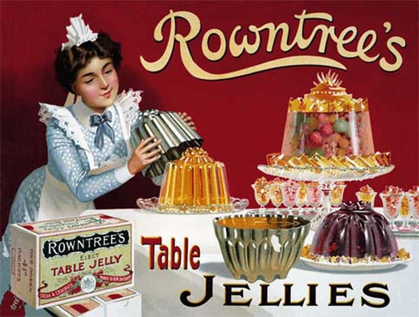 Rowntree's Table Jellies. Old, retro, vintage advert.  Metal/Steel Wall Sign