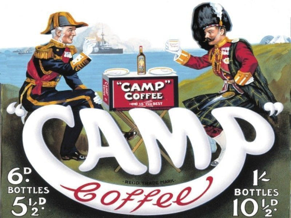 camp-coffee-army-navy-forces-kitchen-cafe-old-advert-two-gentlemen-having-a-coffee-break-picnic-pre-20th-century-dress-for-house-bar-pub-shop-kitchen-or-cafe-metal-steel-wall-sign
