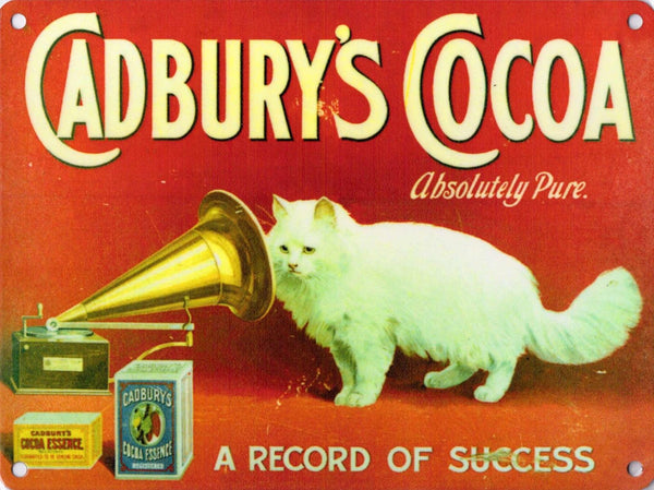 Cadbury's Cocoa, Gramophone Cat Cafe Chocolate Restaurant Metal/Steel Wall Sign