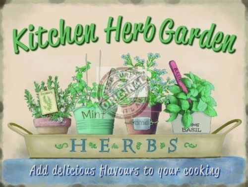 Kitchen Herb Garden, Food Home Cooking, Pub Cafe, bistro Metal/Steel Wall Sign