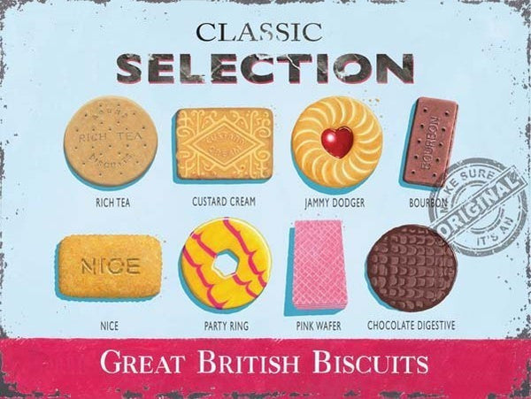 great-british-biscuits-classics-selection-food-rich-tea-custard-cream-jammy-dodger-bourbon-nice-party-ring-pink-wafer-chocolate-digestive-old-retro-vintage-advert-for-shop-kitchen-cafe-pub-home-and-restaurant-metal-steel-wall-sign