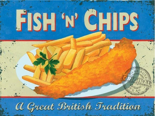 Fish n Chips. Food, Chippy, Fish & Chips. A Great  Metal/Steel Wall Sign