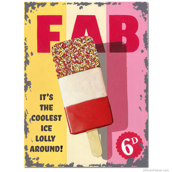 FAB Lolly Ice Cream - Food, Old Retro Advert  Metal/Steel Wall Sign