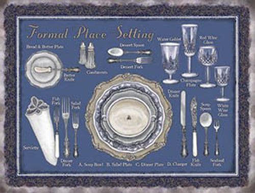 Formal Place Settings, shows all cutlery, plates and glasses. For home, kitchen, dinning room, pub, bar or restaur Large Steel Wall Sign