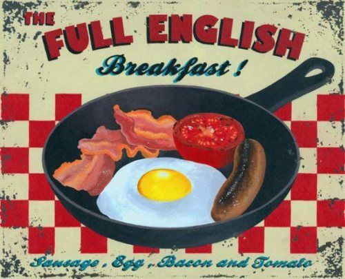 Full English Breakfast, Cafe Kitchen Pub Vintage Food Old. Metal/Steel Wall Sign