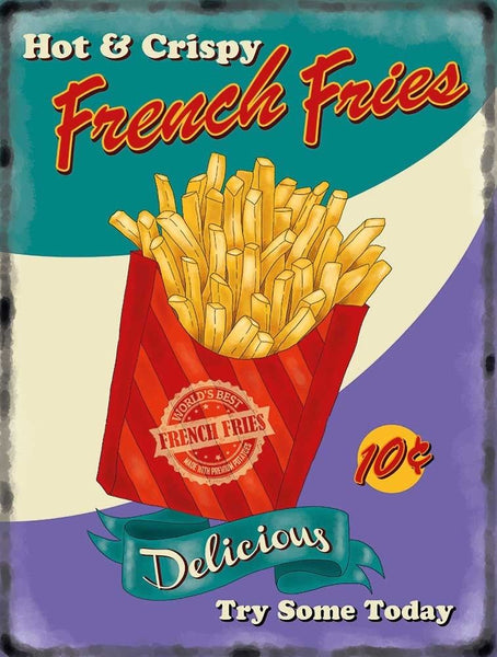 French Fries Chips, 50's diner Kitchen Cafe Food Retro Metal/Steel Wall Sign