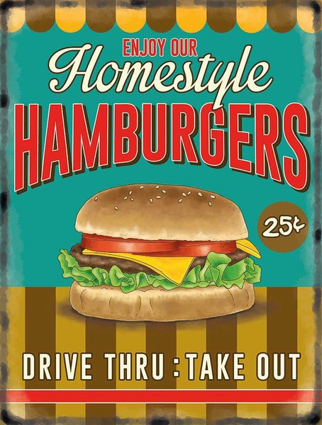 Homestyle Homemade Hamburgers. Homemade Cheeseburger. Metal/Steel Wall Sign