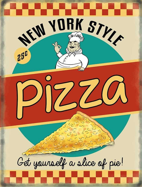 New York Style Pizza 50's. Retro, old vintage advertising Metal/Steel Wall Sign