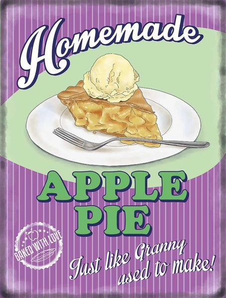 Apple Pie and Ice Cream. Food, Retro, old vintage Metal/Steel Wall Sign