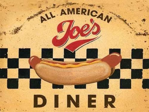 Joe's Diner 50's American Hotdog Retro Vintage Food Gift. Metal/Steel Wall Sign