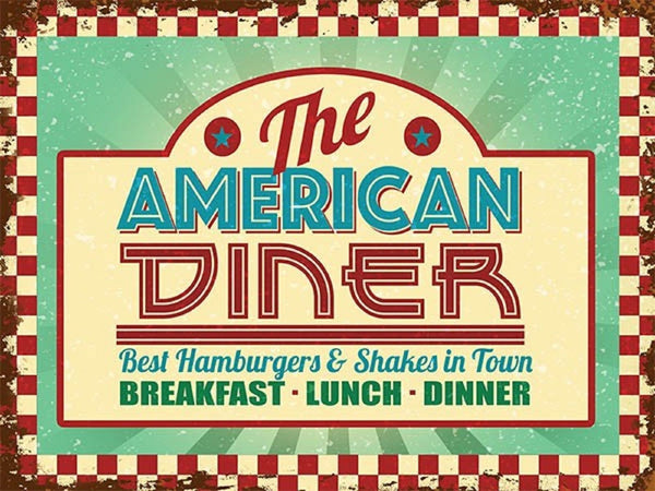 The American Diner. roadside cafe, 50's, 60's diner   Metal/Steel Wall Sign